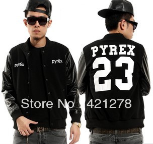 Don`t miss!!! 2013 Autumn and winter men`s fashion designer PYREX VISION23 leather long sleeve jacket ktz Baseball uniform-in Hoodies & Sweatshirts from Apparel & Accessories on Aliexpress.com