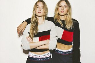 sweater tommy h tommy hilfiger cropped sweater colorblock cropped suki waterhouse model