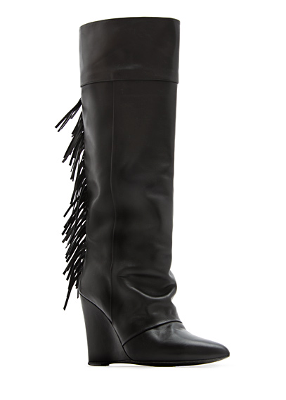 Outlet - Women - Shoes - Fringed leather wedge boots