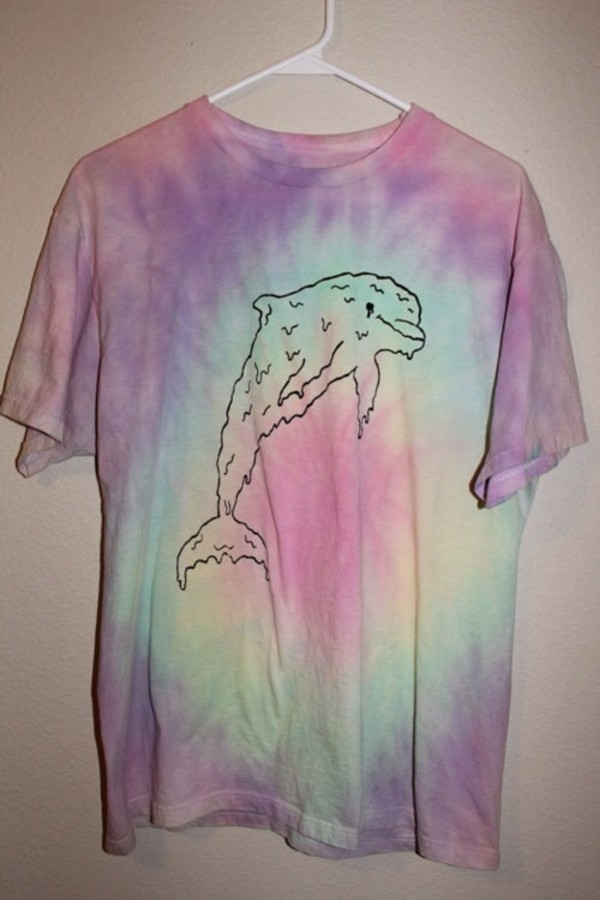 t-shirt pastel colorful pink free green purple yellow dripping dolphin