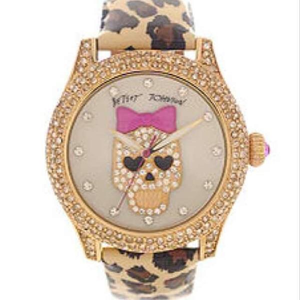 jewels watch betsey johnson skull leopard print