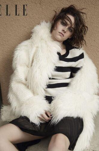 sweater stripes striped sweater kristen stewart fur fur jacket editorial coat