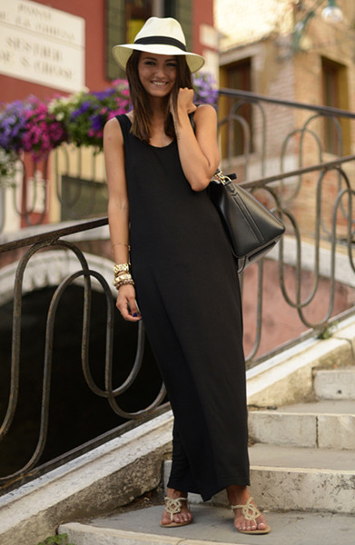 Basic All-match Cotton Long Vest Dress In Black   Choies