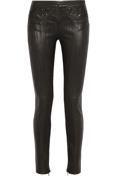 Roberto Cavalli | Embroidered leather skinny pants | NET-A-PORTER.COM