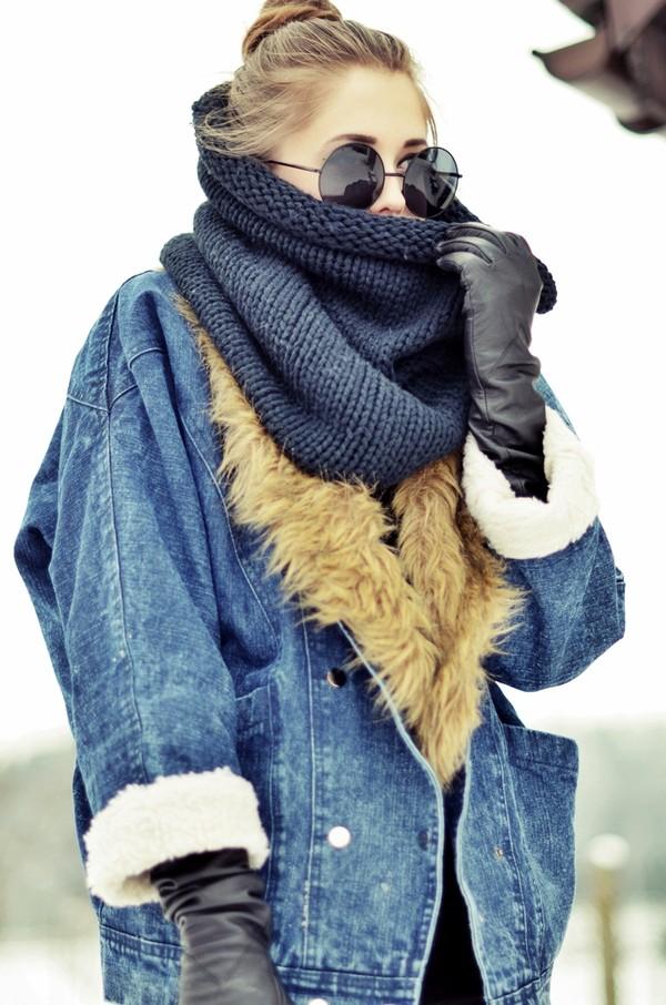jestem kasia jacket sunglasses shoes pants fall outfits infinity scarf oversized denim jacket coat jeans fluffy furry coat shearling denim jacket shearling jacket shearling blue jacket denim jacket knitted scarf scarf black scarf black sunglasses round sunglasses gloves leather gloves