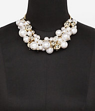 PEARL AND METAL BAUBLE NECKLACE | Express