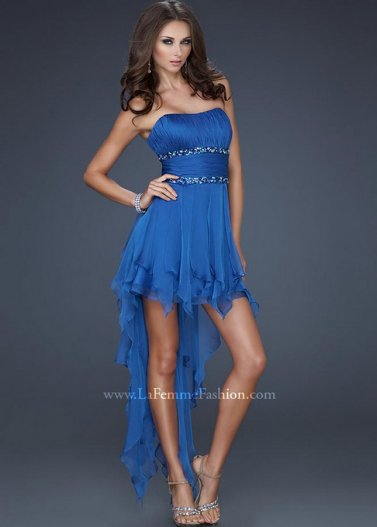 Royal Strapless Jeweled Waist High Low La Femme 15087 Prom Dress [La Femme 15087 Royal] - $168.00 : Prom Dresses 2014 Sale, 70% off Dresses for Prom