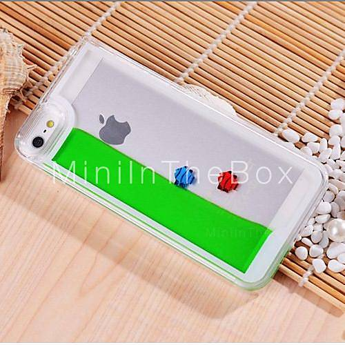 Built-in Free Fish with Water Style Transparent PC Case for iPhone 5/5S - USD $ 14.99