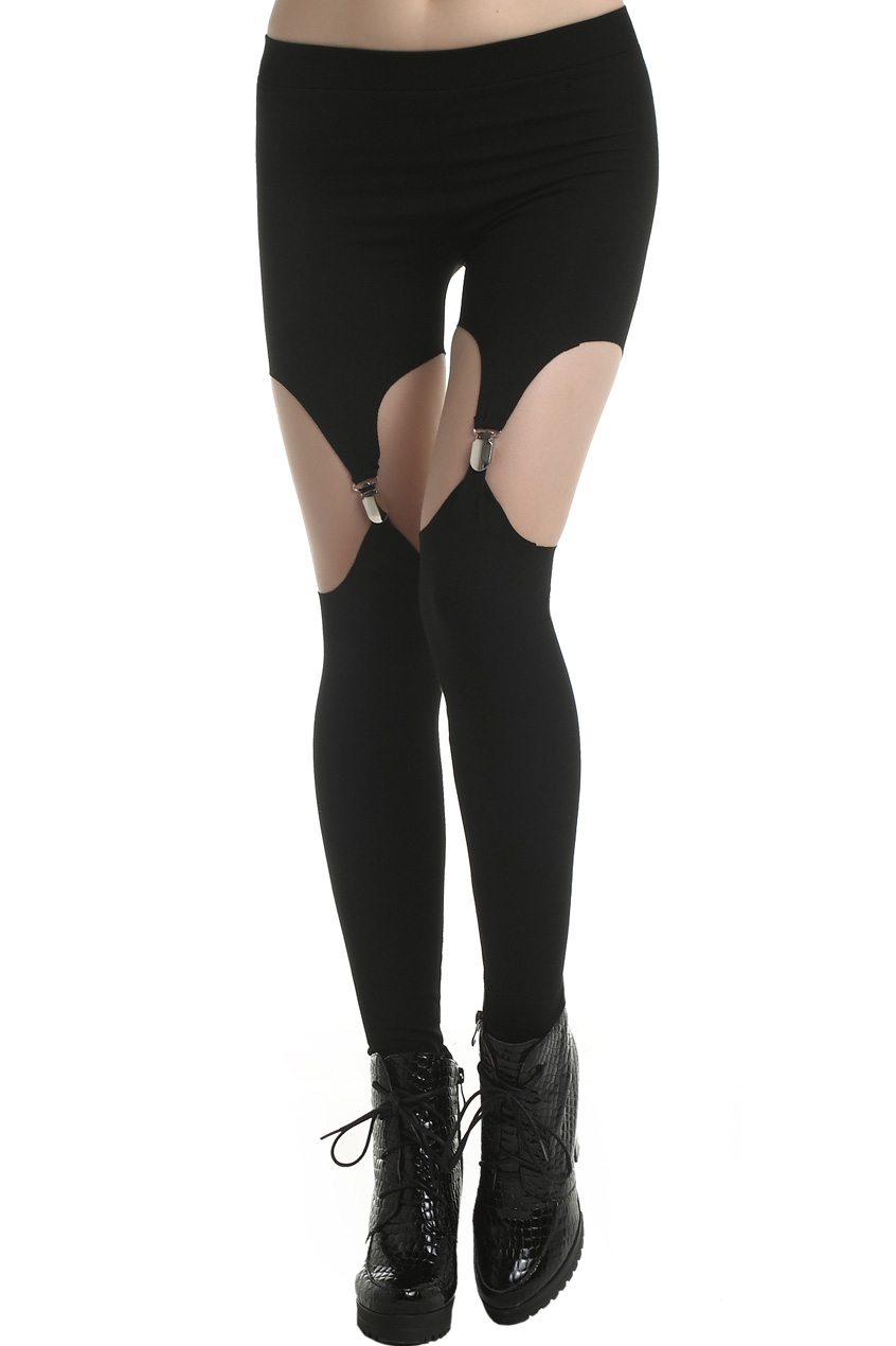 ROMWE | ROMWE Cut-Out Solid Color Black Suspender Leggings, The Latest Street Fashion