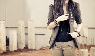 jacket grey jacket gold buttons