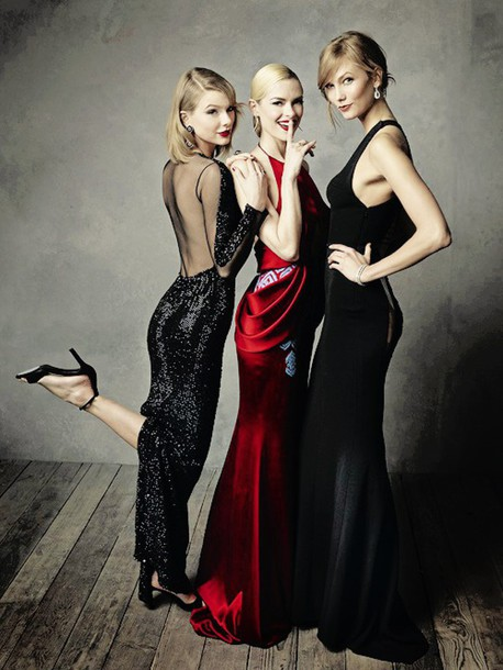 taylor swift karlie kloss blonde hair red dress black dress couture dress party outfits