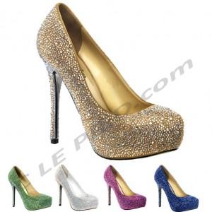 escarpin de soiree PRESTIGE-20 pleaser chaussure talon aiguille sexy luxe chic mariage cocktail bleu violet vet or argent blanc
