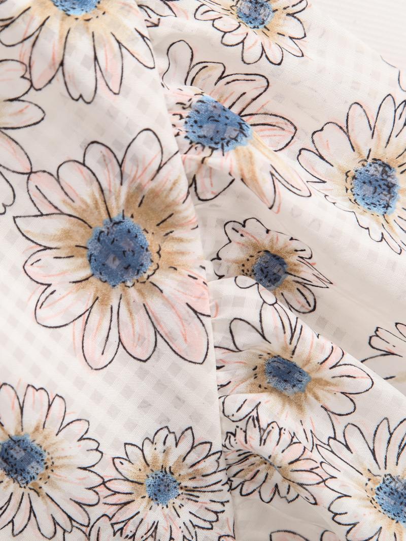 White Elastic Waist Sunflowers Print Shorts - Sheinside.com