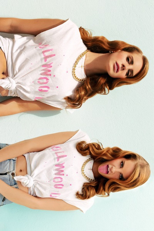 shirt hollywood pink letters jewels blouse muscle tee tied shirt gold lana del rey