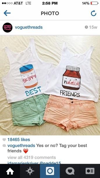 shirt tank top white pink blue