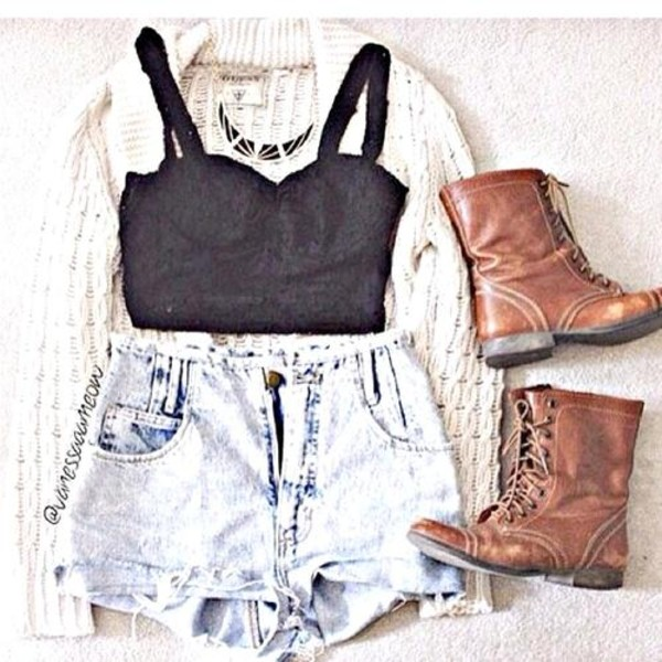 shoes boots leather boots brown boots top shorts denim denim shorts black top brown
