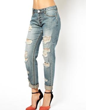 ASOS | ASOS ASOS Brady Boyfriend Jeans in Vintage Wash with Extreme Rips at ASOS