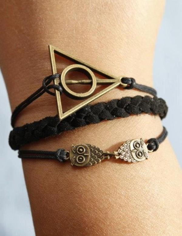 jewels bracelets owl harry potter and the deathly hallows harry potter leather bracelet