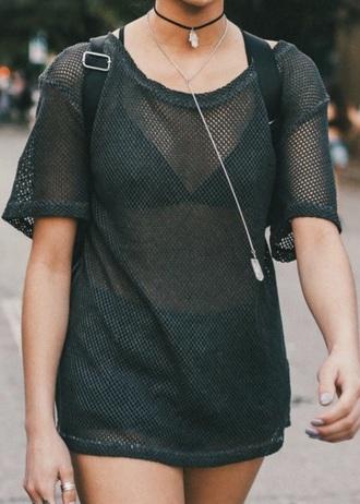 top mesh fishnet top black