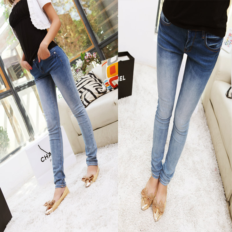 Gradient jeans trousers elastic female pencil pants slim skinny pants-inJeans from Apparel & Accessories on Aliexpress.com