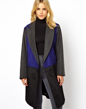 ASOS | ASOS Contrast Colour Block Coat at ASOS