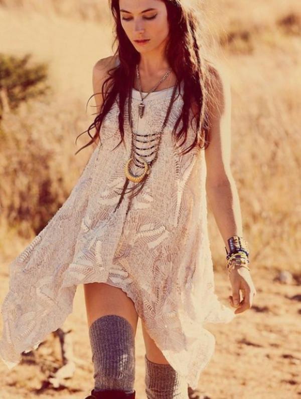 dress indie underwear jewels shirt boho necklace gold feathers moon knitted dress flowy dress asymmetrical dress hippie high socks boots lace dress boho dress style gypsy festival coachella lace bohemian