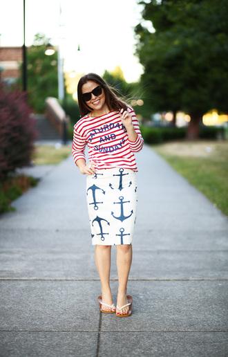 dress corilynn blogger anchor pencil skirt sailor striped shirt