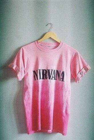 t-shirt band pink women menswear nirvana rivet tie dye nirvana t-shirt
