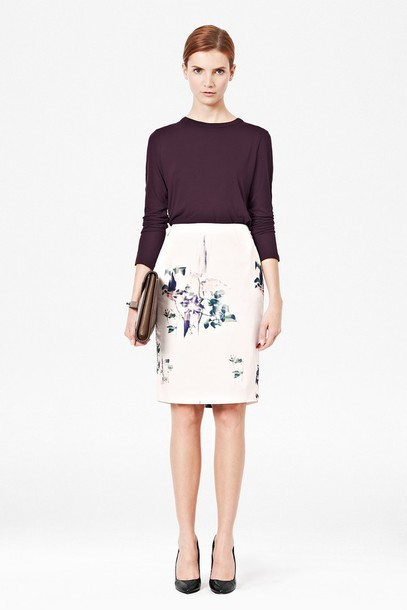 skirt pencil skirt flowers birds