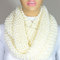 Hand knitted cream cozy infinity scarf christmas gift for her for him neck warmer - escherpe