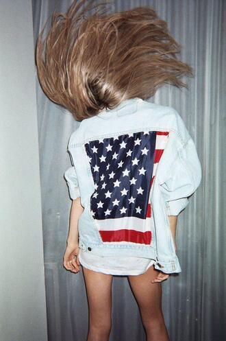 jacket usa jeans denim jacket american flag girl us flag guys denim shirt