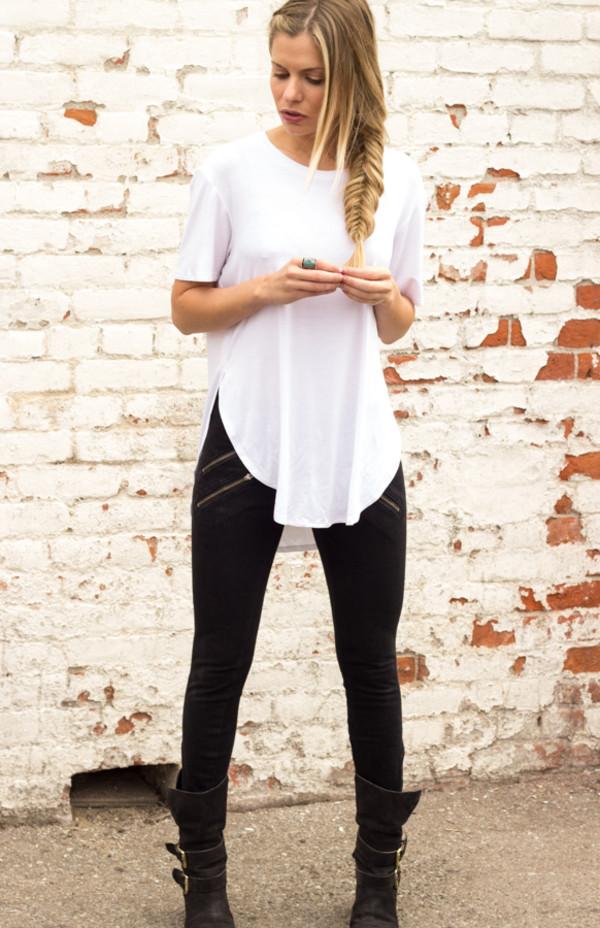shirt t-shirt white t-shirt top women slouchy