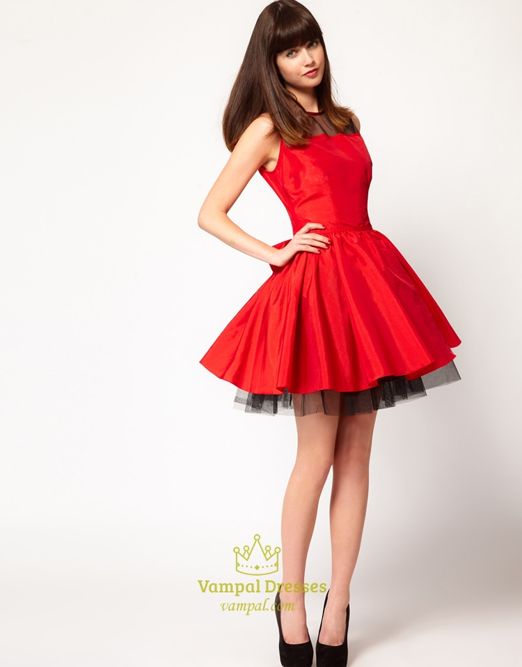 Red And Black Short Homecoming Dresses, Red Dresses For Holiday Party, Red Cocktail Dress With Bow, Scoop Neck Cocktail Dress | Vampal Dresses