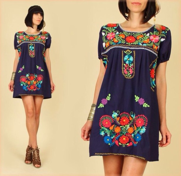 dress boho navy dress flower embroidered mexican dress mexican aztec mexican style