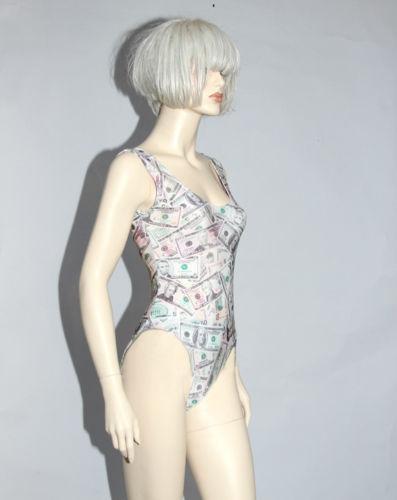 Money Print One Piece Swimsuit Bodysuit Leotard Dollar Bills Spandex Retro   eBay