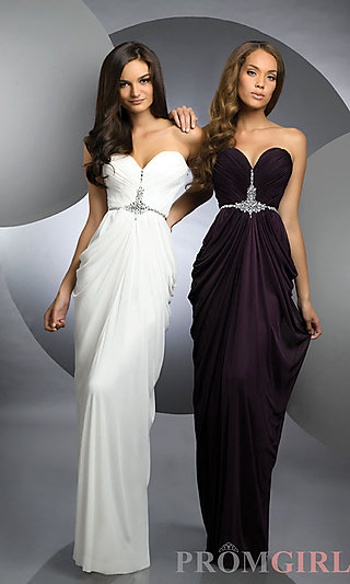 Strapless Evening Gowns, Shimmer Strapless Prom Dresses-PromGirl