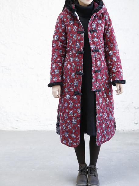 jacket floral padded coat