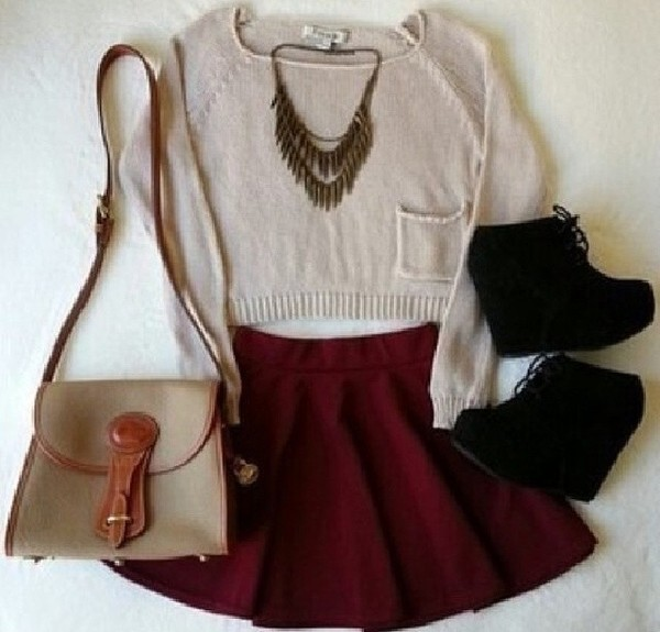 sweater cropped sweater cute outfits sweater weather shoes necklace jewelry wedges shoes black wedges black wedges high heels skirt burgundy burgundy skirt purse jewels bag back to school skater skirt high waist skirt summer outfits shirt red skirt cropped heels baige outfit summer shorts blouse t-shirt