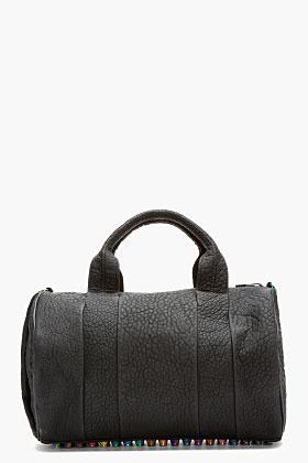 Alexander Wang Black Rubberized Leather Iridescent Rocco Duffle Bag for women | SSENSE