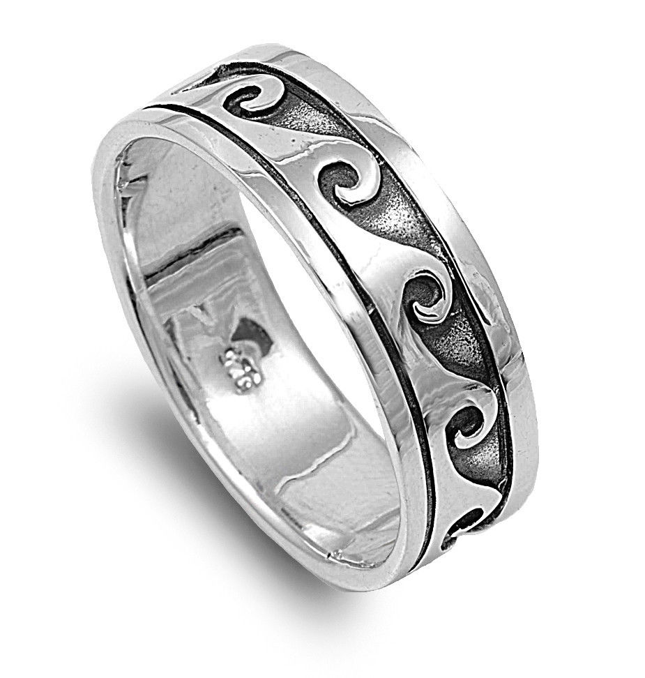 Sterling Silver Vintage Wave Ring Available in Sizes 7 8 9 10 11 12 13   eBay