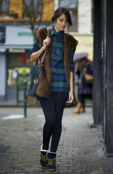 from brussels with love blogger shirt leggings faux fur vest winter outfits michael kors jacket shoes bag