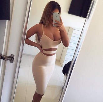 dress bodycon tight 2piece dress nude fashion tumblr beautiful girl white black dress bandage dress hot sexy sexy dress beije bodycon dress strappy