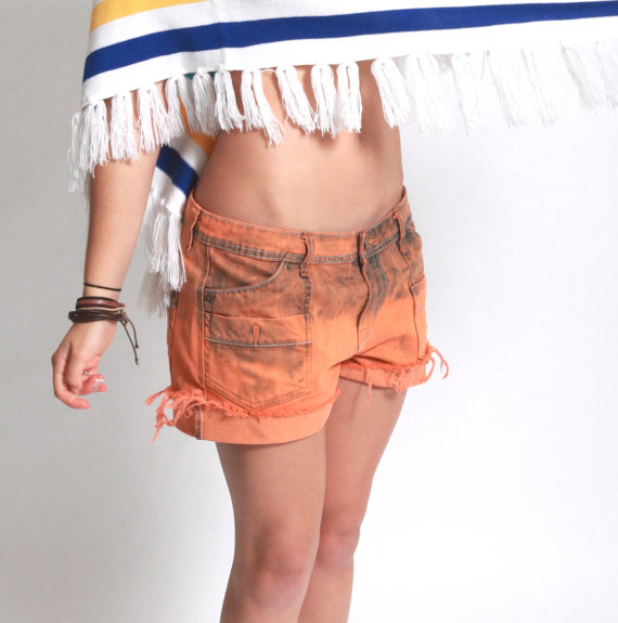 Upcycled orange denim shorts bleach splatter dip by VintageTwists
