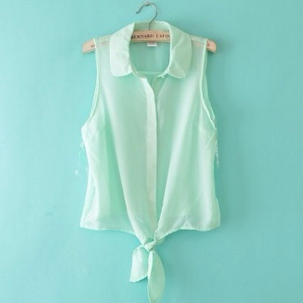 blouse mint green blouse