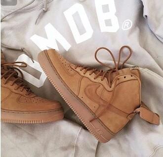 shoes nike air max jordan nike air force nike air force 1 mid brown beige velcro adidas superstar white omob sneakers boots swoosh tumblr cool grunge brandy melville wheat nike air nike shoes suede nike sneakers high top sneakers