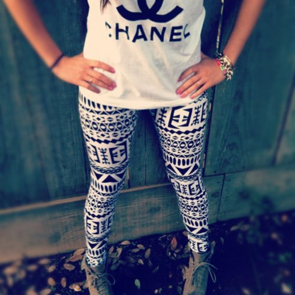 pants aztec leggings clothes t-shirt boots shoes fashion black and white shirt pants jeans tights