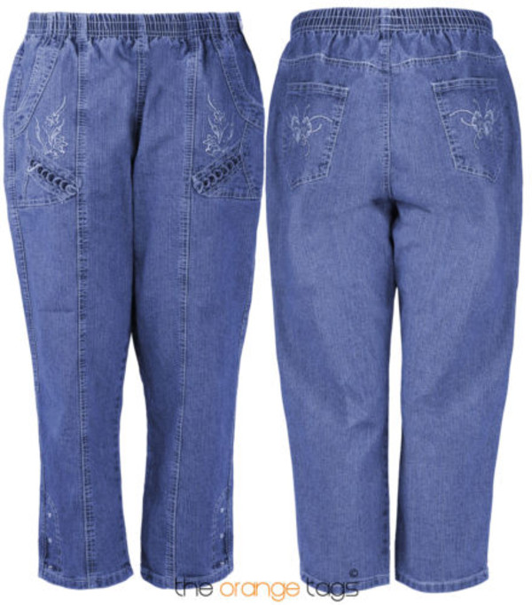 pants denim pluz size pants knee length baggy jeans