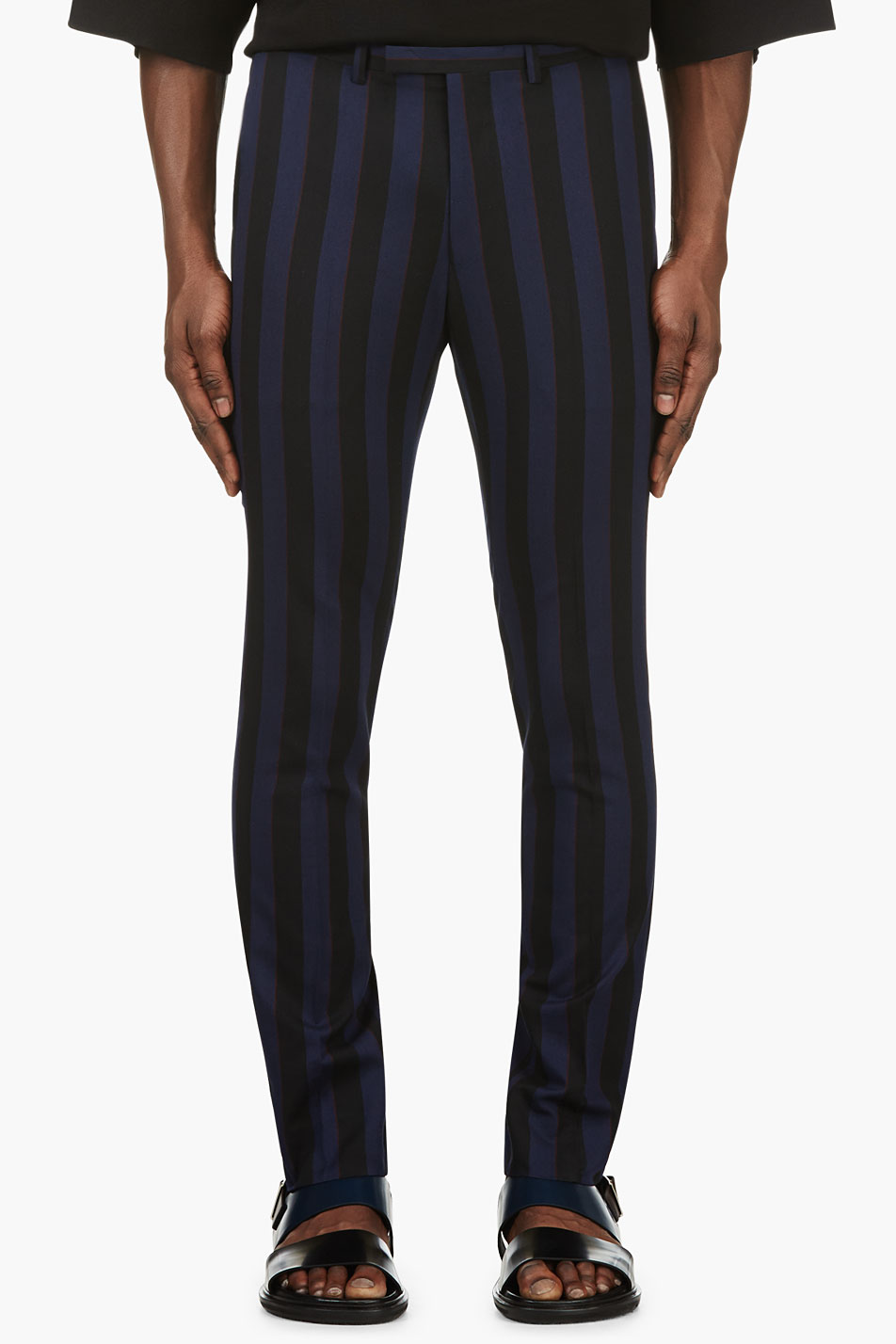 lad musician blue and black stripe slim fit trousers