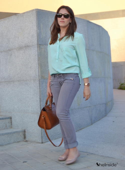 Turquoise Collarless Dipped Hem Long Sleeve Blouse with Front Pocket - Sheinside.com