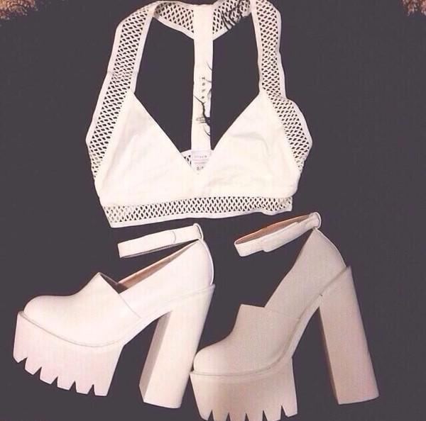 shoes white platforms t-shirt